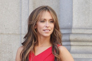 "Jennifer Love Hewitt Jennifer Love Hewitt wears a red dress and black heels as she films scenes for ""The Client List"""