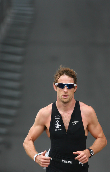 Jenson Button Jenson Button, British Formula One driver, competes in the London Triathlon at the Excel Centre at the Docklands in London.