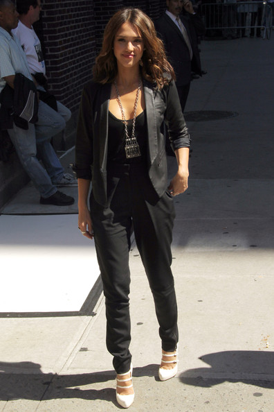 Jessica Alba arrives at the Ed Sullivan Theatre ahead of an appearance on