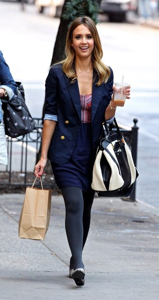 Jessica Alba is seen in New York grabbing refreshment on the go during a shopping trip.