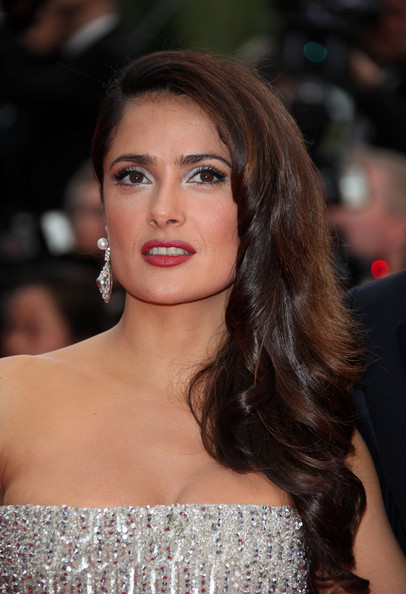 """Salma Hayek in a stunning silver gown at the premiere screening of """"Midnight in Paris"""" on the opening night of the  64th Annual Cannes Film Festival."""
