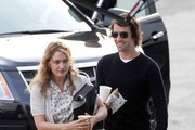 "Actress Kate Winslet is joined on the set of her new film ""Labor Day"" in Los Angeles by boyfriend Ned Rocknroll."