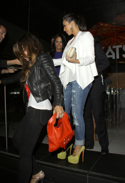 "Kim Kardashian Kim Kardashian rocks some lime green Louboutins as she dines at Katsuya with ""Pussycat Dolls"" founder Robin Antin, Mark Ballas and Pia Toscano."
