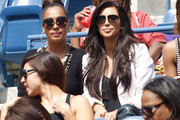 Kim Kardashian and friends Ciara and La La Anthony cheer for Serena Williams at the US Open in New York. Kim and friends were Serena's guests and they cheered her on from the box during her quarterfinal win over Anastasia Pavlyuchenkova in merely 2 sets. The US Open is currently being held at the Billie Jean King Tennis Center in Flushing Meadows, Queens.