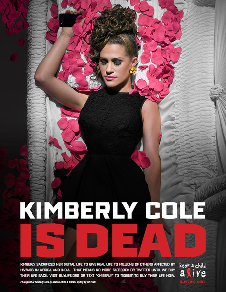 Kimberly Cole .HOLLYWOOD IS DEAD - CELEBRITIES POSE IN COFFINS AND GO OFF LINE IN 'DIGITAL DEATH' FOR WORLD AIDS DAY: A host of celebrities are raising money for charity by signing off their social networking sites for 24 hours - and playing dead in a series of macabre photographs. Lady Gaga, Justin Timberlake, Usher, Kim Kardashian, Jennifer Hudson, Ryan Seacrest, Elijah Wood, Serena Williams and Swizz Beatz are all pictured lying flat out in their coffins. The stars also suffered a 'digital death' for one day and signed off all their Twitter, Facebook and MySpace accounts to raise cash for World Aids Day on Wednesday. They logged off on Tuesday and will not sign back on until $1 million has been raised for Alicia Keys' Keep A Child Alive cause. During 'The Digital Life Sacrifice' they all filmed 'last tweet and testament' videos which will appear in ads showing them in coffins. Lady Gaga has more than seven million Twitter followers - while 3.5 million have signed up for Justin Timberlake's tweets. Alica Keys said: ''Once I got people on the phone and I was able to paint the concept for them, everybody was in. ''We're trying to make the remark, 'why do we care so much about the death of one celebrity as opposed to millions and millions of people dying in the place that we're all from?'' Celebrities taking part also include P Diddy, Serena Williams, Janelle Monae, Kimberly Cole, David LaChapelle, Daphne Guinness and Bronson Pelletier.