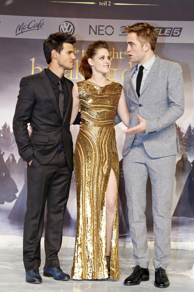 Taylor Lautner Kristen Stewart and Robert Pattinson at the premiere of 'The Twilight Saga : Breaking Dawn Part 2' premiere, in Berlin, Germany.