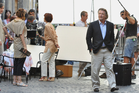 "LIP LOCK - Alec Baldwin was spotted on set of Woody Allen's latest project, ""Bop Decameron,"" filming in Rome, Italy. He was seen being coached on scenes with Woody Allen and fliming a kissing scene with Carol Alt."