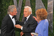 Michael Douglas, Kirk Douglas and Anne Douglas attending the 2012 Vanity Fair Oscar Party held at the Sunset Towers Hotel, West Hollywood.