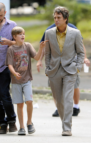 "Mark Ruffalo Mark Ruffalo walks with son Keen Ruffalo to set of ""The Avengers"" filming in Central Park, NYC."