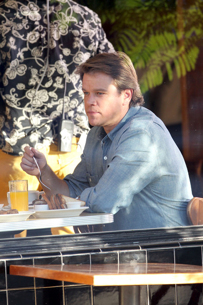 "Matt Damon is spotted filming a breakfast scene inside the Los Angeles restaurant Little Dom's for the upcoming movie ""We Bought a Zoo"". Damon looked to be enjoying his breakfast, complete with eggs, bacon and orange juice, as he ate with his young co-stars Maggie Elizabeth Jones and Colin Ford."