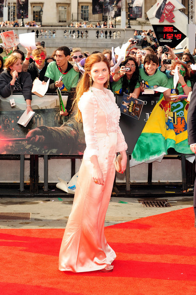 "Bonnie Wright arrives for the world premiere of ""Harry Potter and the Deathly Hallows - Part 2"" - the final Harry Potter film. The premiere was held in London's Trafalgar Square."