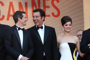 Guillaume Canet, Clive Owen and Marion Cotillard attend the Premiere of 'Blood Ties' during the 66th Annual Cannes Film Festival at the Palais des Festivals in Cannes..