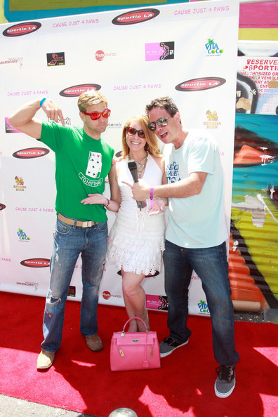 A-ron and Barrett pose with Tami Erin at the Cause Just for Paws event in Los Angeles.