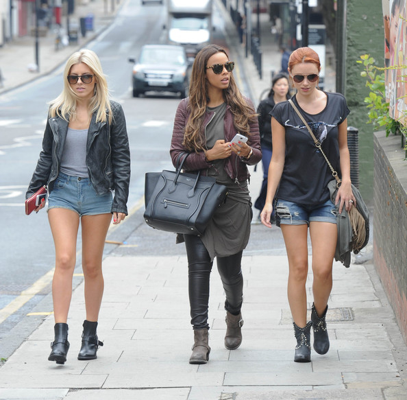 The Saturdays take a lunch break during a recording session in London on August 16, 2013.