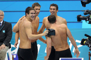 Nathan Adrian American swimming legend Michael Phelps seen competing in his last Olympic swim and leading the 4x100m medley team to gold at the Aquatics Centre, London 2012 Olympic Games