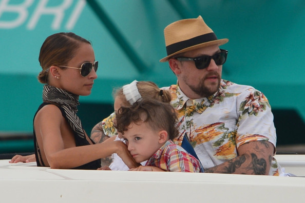 Nicole Richie and husband Joel Madden take their kids Harlow and Sparrow on a family day out in the South of France on July 22, 2013.