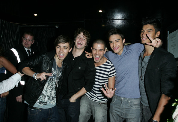 "Nathan Sykes, Max George, Jay McGuiness, Tom Parker and Siva Kaneswaran of the band ""The Wanted"" joke around outside Movida nightclub in London."
