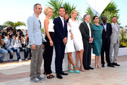 L-R Olivier Assayas, Linn Ullmann, Jude Law, Martina Gusman, Uma Thurman, Robert De Niro, Nansun Shi, Mahamat Saleh Haroun, Johnnie To for the Jury photocall at the 64th Annual Cannes Film Festival. DeNiro is heading up the nine person Jury that will award the prizes this year.