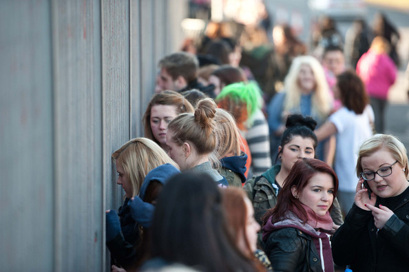 One Direction - One Direction arrive in Glasgow at the SECC before their sellout gig, where dozens of teenage fans wait to see their idols