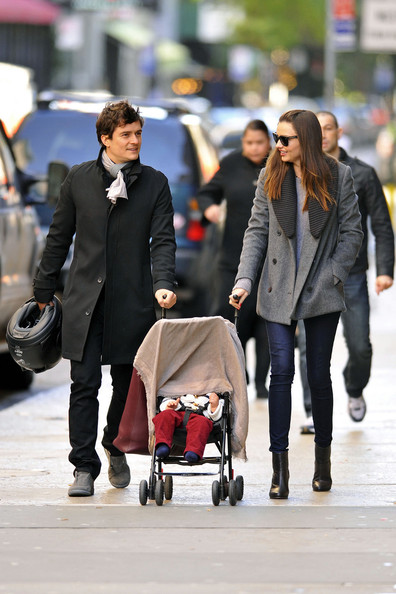 Orlando Bloom Orlando Bloom and Miranda Kerr show off their baby son Flynn while out and about in NYC. The fashionable couple could be seen pushing their cute son in a stroller before covering him up in a blanket.