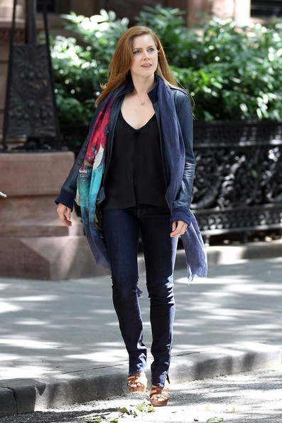 Oscar nominated actress Amy Adams spotted filming scenes for new movie 'Lullaby' in New York.