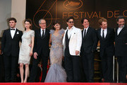"""(L-R) Sam Claflin, Astrid Berges-Frisbey, Geoffrey Rush, Penelope Cruz, Johnny Depp, director Rob Marshall, producer Jerry Bruckheimer and  Ian McShane arrive on the red carpet for the screening of """"Pirates of the Caribbean - On Stranger Tides"""" at the Cannes Film Festival."""