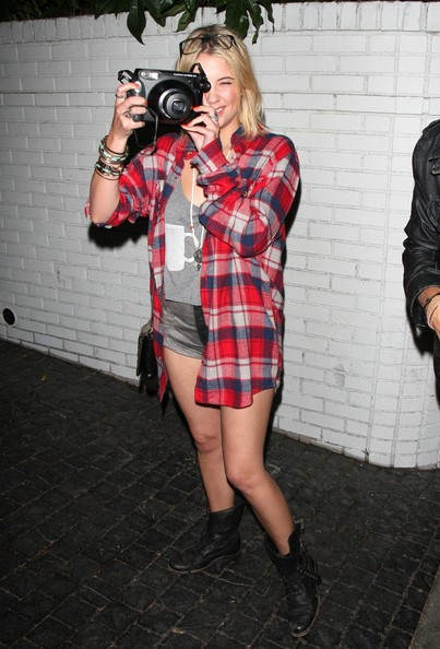 'Pretty Little Liars' co-stars Ashley Benson and Keegan Allen seen joking and turning the tables on photographers with their Polaroid camera while arriving at the Chateau Marmont in Hollywood.