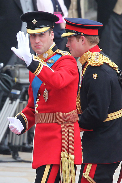 Prince Harry Prince William arriving at Westminster Abbey with his brother