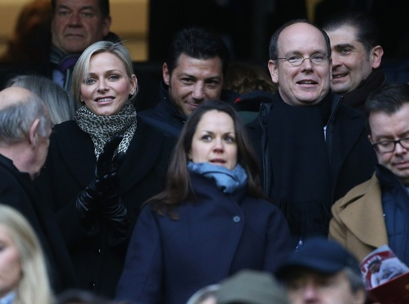 Prince Albert of Monaco and his wife Princess Charlene attend the Six Nations rugby match between England and France at Twickenham Stadium in England.