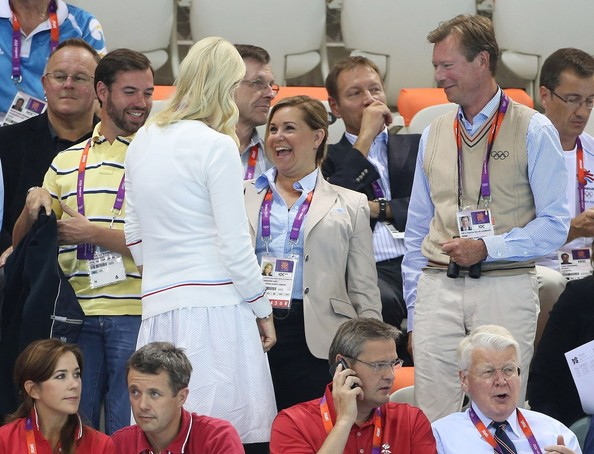 Prince Guillaume of Luxembourg, Princess Mette-Marit of Norway,  Maria Grand Duchess of Luxembourg, Henri Grand Duke of Luxembourg watch the swimming competition at the Aquatics Center of the Olympic Park. Summer Olympic Games 2012 in London.