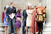 Prince Andrew, Prince Andrew, Camilla, Prince William, Princess Beatrice, Princess Eugene and Catherine Duchess of Cambridge seen leaving St Paul's Cathedral in London after the Diamond Jubilee Thanksgiving Service in London.