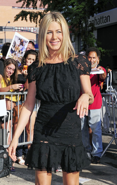 "Put a ring on it! Jennifer Aniston seen arriving at the ""Daily Show with Jon Stewart"" in New York City with what looks like a ring on her engagement finger. Aniston is allegedly dating actor Justin Theroux and is currently promoting her latest flick ""Horrible Bosses."