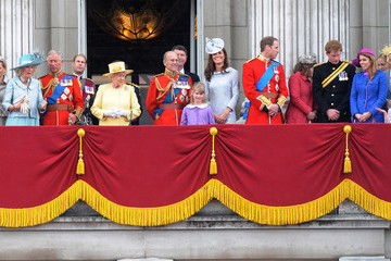 """Queen Elizabeth II Princess Beatrice Queen Elizabeth II Duke of Edinburgh and Prince William at the """"Trooping the Colours Ceremony"""" at Buckingham Palace in London"""
