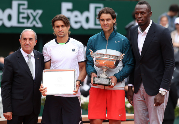 Rafael Nadal and David Ferrer - Rafael Nadal of Spain clinches French Open 2013 title after beating David Ferrer in 3 straight sets in Paris