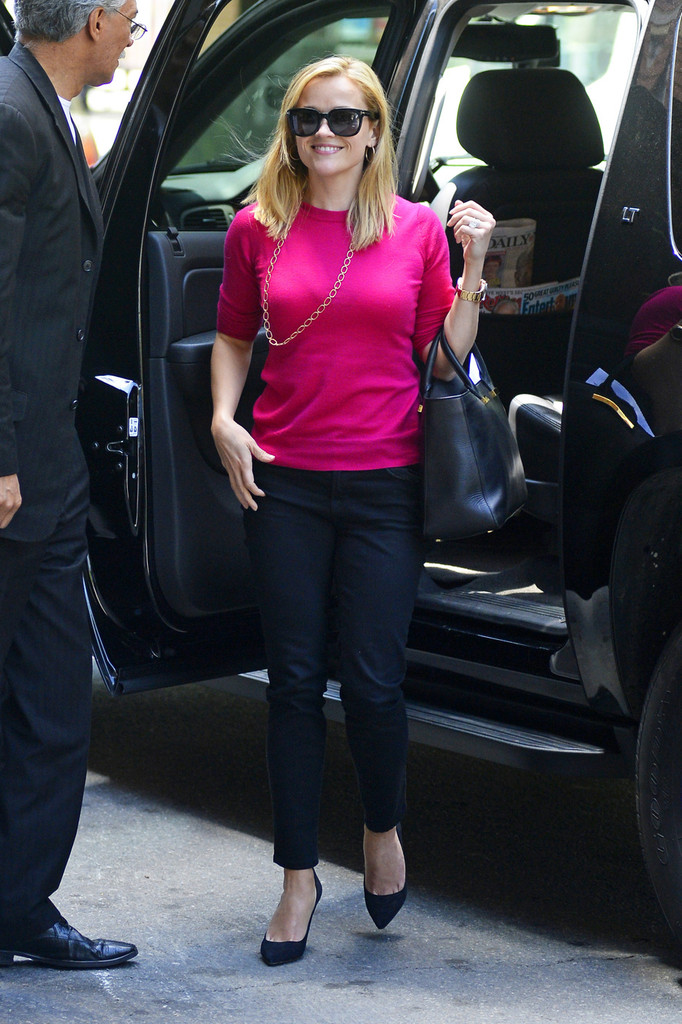 Reese Witherspoon heads into the Greenwich Hotel in Tribeca in New York City.