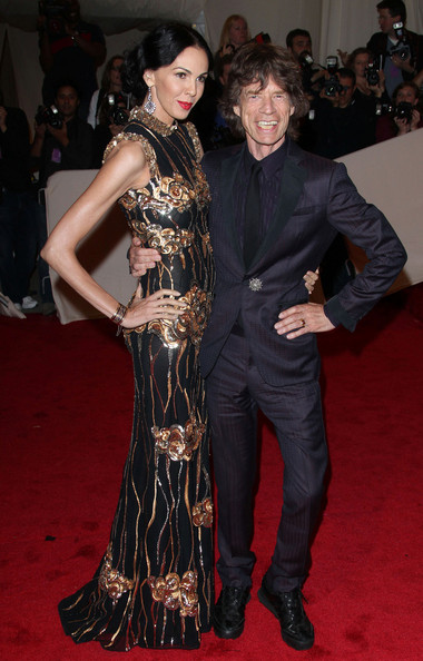 "Mick Jagger and L&squot;Wren Scott at the annual Costume Institute Gala, celebrating the exhibition at the Met of &squot;Alexander McQueen: Savage Beauty"", held at the Metropolitan Museum Of Art on 5th Avenue in Manhattan."