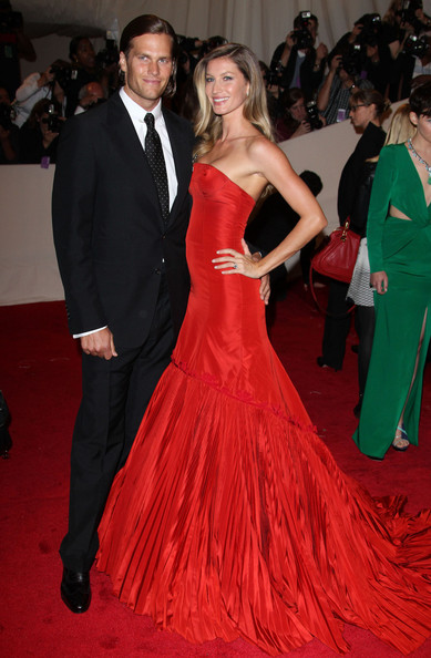 "Gisele Bundchen and Tom Brady arriving at the annual Costume Institute Gala, celebrating the exhibition at the Met of 'Alexander McQueen: Savage Beauty"", held at the Metropolitan Museum Of Art on 5th Avenue in Manhattan."