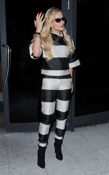 Rita Ora wears a striped Stella McCartney ensemble in London on June 24, 2013.