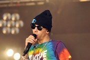 Dappy seen performing on stage at the BBC Radio 1 Hackney Weekend festival at the Hackney Marshes in London.