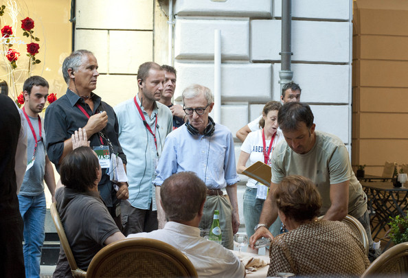 "Woody Allen directs Roberto Benigni on the set of Allen's new movie ""The Bop Decameron"" in Rome ."