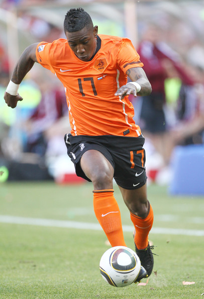 Eljero Elia Eljero Elia NED at the Netherlands-Denmark 2-0 game, first round of the World Cup 2010, held at Soccer City Stadium in Johannesburg.