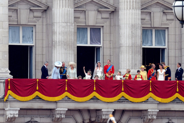 The Royal Family pictured with the newly married couple Prince William and Kate Middleton on the balcony at Buckingham Palace for their Royal Wedding. Thousands of supporters lined The Mall in London to congratulate the Royals as they travelled to Buckingham Palace.