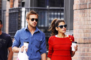 """""""Drive"""" actor and girlfriend Eva Mendes look happy and relaxed as the pair grab a coffee in New York City."""