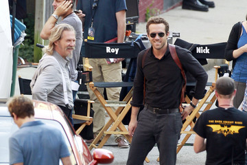 """Jeff Bridges Ryan Reynolds Ryan Reynolds, wearing a gun holster, spotted on the set of the upcoming film, """"R.I.P.D,"""" in Boston"""