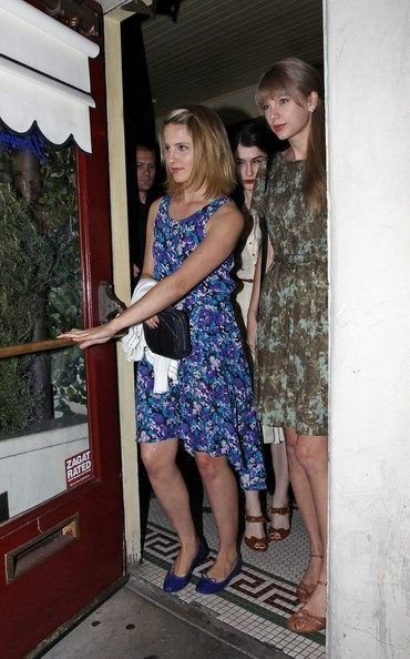 Singer Taylor Swift and 'Glee' star Diana Agron seen leaving together from Dominick's Restaurant in Hollywood after enjoying an meal together.