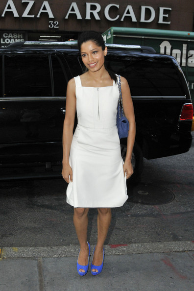 """Slumdog Millionnaire"" actress Freida Pinto arrives to the ""Today Show"" studios in New York. Freida Pinto is promoting her latest film ""Rise of the Planet of the Ape""."