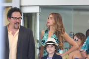 Sofia Vergara, Emjay Anthony, and Jon Favreau film scenes for 'Chef' in Miami on August 12, 2013.