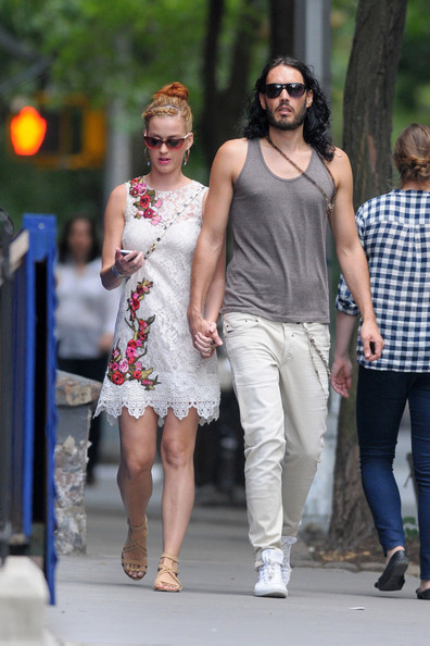Superstar couple Russell Brand and Katy Perry have lunch in the West Village before taking a bike ride to Central Park. The newly married pair, who reportedly purchased a $6.5 million home in the Hollywood Hills, embraced after their lunch at St. Ambroeus.