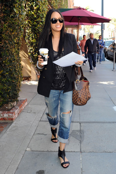 tia mowry out and about in this photo tia mowry tia mowry wears rolled ...