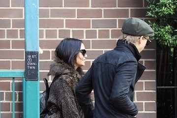"""Vanessa Hudgens Actress Vanessa Hudgens cheerfully visits her boyfriend Austin Butler during a break from filming """"The Carrie Diaries"""" in New York City"""